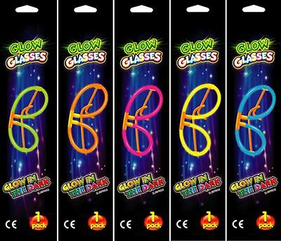 5 Neon Glow Glasses Sticks Glasses Party Neon Glowsticks Party Bag Fillers