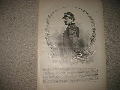 LARGE ANTIQUE 1896 GENERAL GEORGE McCLELLAN CIVIL WAR PRINT HARPERS FERRY VA NR