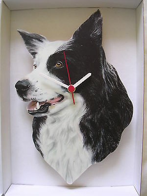 Border Collie Sheep Dog Wall Clock. New & Boxed.Head Only