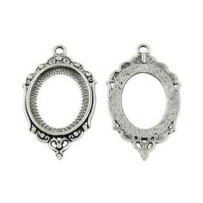Packet 10 x Antique Silver Tibetan Oval Cabochon Settings 24 x 42mm HA13135