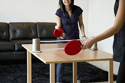 Umbra RED Pongo Portable Ping Pong Game Set uses any table/compact easy fold