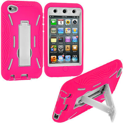Hot Pink White Hybrid Hard/Soft Skin Case Cover Stand for iPod Touch 4th Gen 4G
