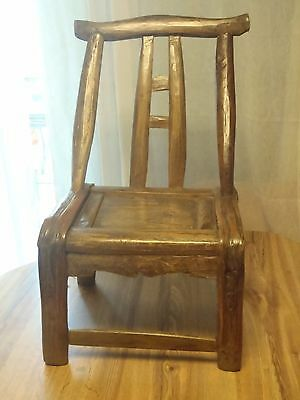 "Antique Mid 19th Century Chinese Tall Back Wood Chair Child Size 27"" Tall"