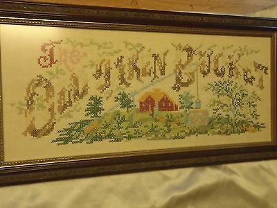 Vintage / Antique Counted Cross Stitch The Old Oaken Bucket Framed