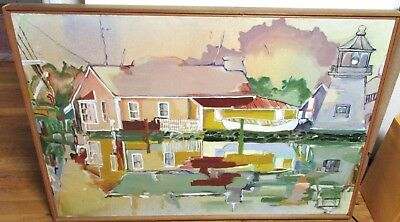 Reflections #7 House Lighthouse Seascape Original Oil Canvas Painting Unsigned