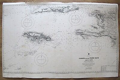 1866 Jamaica & The Pedro Bank Cuba Haiti West Indies Vintage Admiralty Chart Map