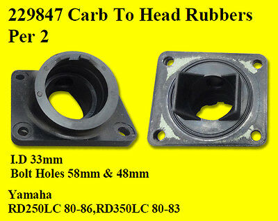 YAMAHA RD250 LC RD350 RD250LC RD350LC 80- Carb Carburettor Inlet Rubbers 2 Pack