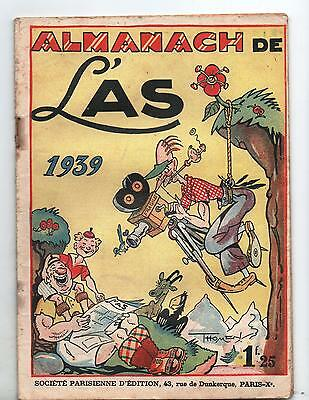 Almanach 1939 de L'AS. Couverture THOMEN.  TBE