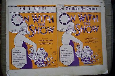 On With The Show Lot of 2 Sheet Music 1929