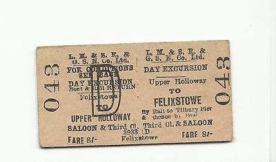 LMS & GSN Co ticket, Upper Holloway to Felixstowe