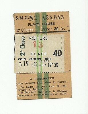 France, SNCF seat reservation ticket