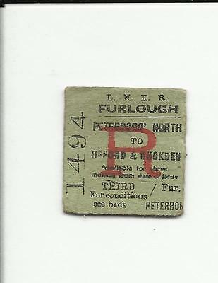 LNER ticket, Peterborough North to Offord & Buckden, 1945