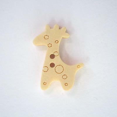 Bouton en Bois Naturel Girafe - Lot de 10 : Mercerie Couture Scrapbooking