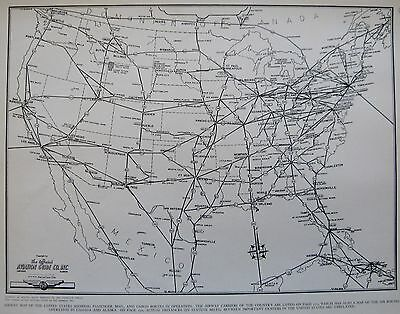 1945 UNITED STATES Map w Aviation Routes USA Map Gallery Wall Art 2704