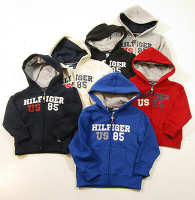 Tommy Hilfiger Boys Full Zip Cotton Blend Graphic Hoodie