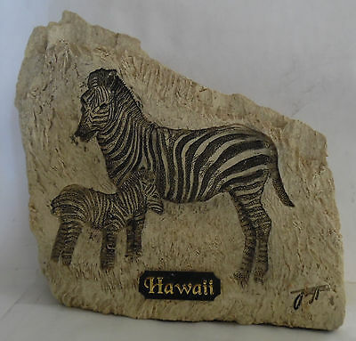 Vintage Crystal Galleria Zebra  & Baby Carved Stone Figurine Signed Collectible