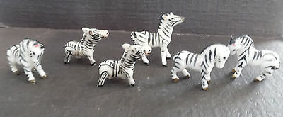 Vintage Rare Japan Bone China Zebra Zoo Figurine Miniature 6 Statue Collectible