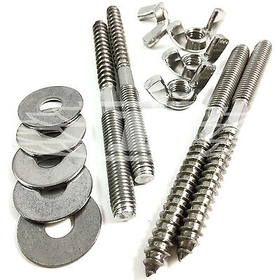 M8 & M10 A2 Solid Stainless Steel Wood To Metal Dowels, Penny Washers, Wing Nuts