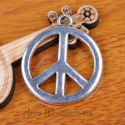10pcs 34mm Charms Peace Pendant Tibet Silver DIY Jewelry Connector Linker A7119