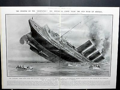 "1915-ILLUSTRATED LONDON NEWS- RaRe Sinking CUNARD Liner ""LUSITANIA"" 1142 DEAD"