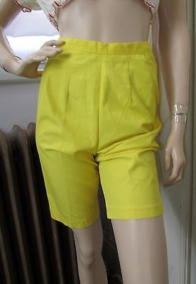 Vtg 50s Womens Yellow HIGH WAIST Side Zip Rockabilly Pin Up Cotton Shorts S 26