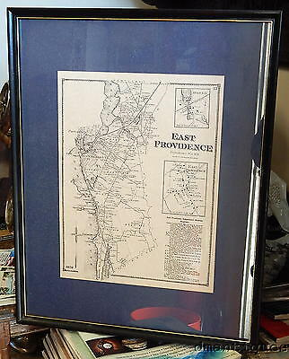 Framed 1870 Town Map Plan East Providence Rhode Island Business Directory