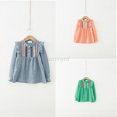 Lovely Chic Baby Kids Girls Long Sleeve Shirts Ruffle Loose T-shirts Tops Blouse