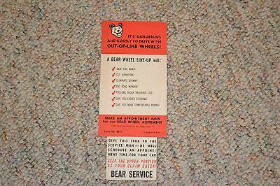 Vintage 1960's Bear Wheel Alinement Automotive Service Card From Modern Auto
