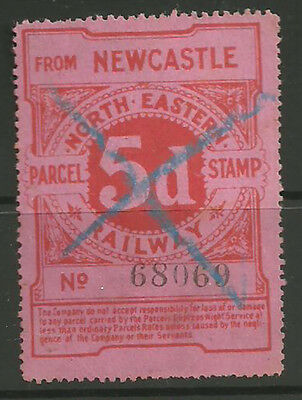 5D North Eastern Railway Night Express Parcel Stamp From Newcastle Printed Red