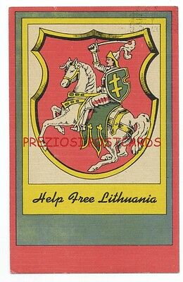 HELP FREE LITHUANIA - VYTIS Coat of Arms - 1951 LINEN Poster-Style Postcard
