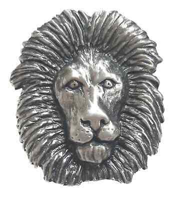 Lion Head Handcrafted From English Pewter Lapel Pin Badge + Gift Bag