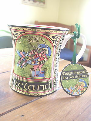 Celtic Peacock Bone China Cup or Mug