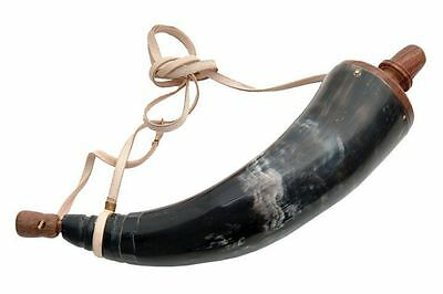 black powder pyrodex cattle horn flask cow rendezvou display leather strap 10 in