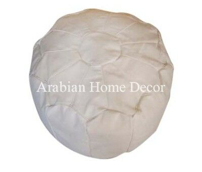 Handcrafted Moroccan Plain White Leather Ottoman Footstool Pouf Pouffe Hassock