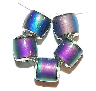 MC134L Color Changing Thermo Sensitive Sparkle Mood Beads 7mm Round Tube 10/pkg