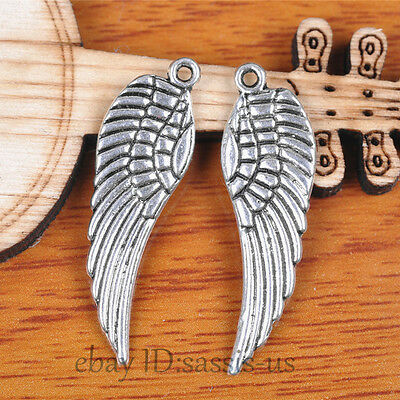 50pcs 30mm charms angel wing pendant Diy Jewelry For Bracelet Tibet Silver A7099