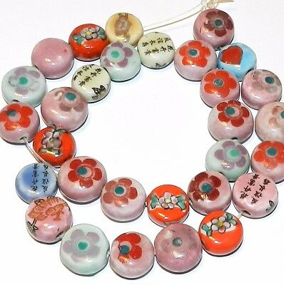 """CPC145f Assorted Porcelain & Ceramic 13-14mm Puffed Flat Round Coin Beads 16"""""""