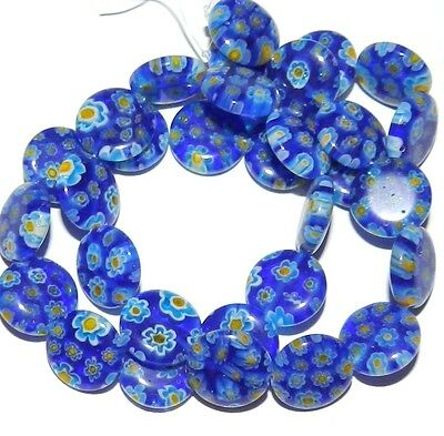 G3033f Blue w Multi-Color Flowers Millefiori 14mm Puffed Round Glass Beads 15""