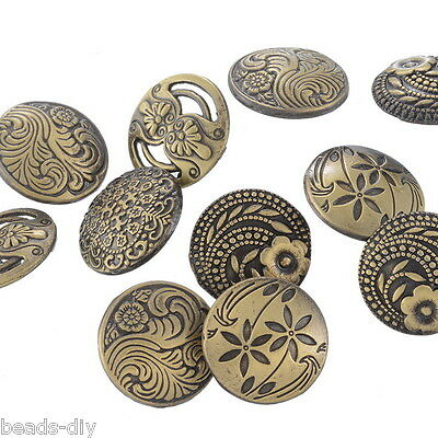30PCs Round Sewing Buttons Bronze Tone Flower Decorative Pattern Mixed 17mm