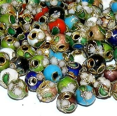 CL111K Assorted Color 6mm Round Enamel Overlay on Metal Cloisonne Beads 25/pkg