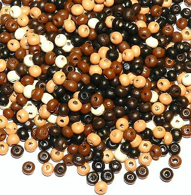 W239f Assorted Multi-Color Earthtone Brown 5mm Round Rondelle Wood Beads 30-gram