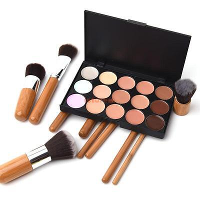 15 Color Face Cream Eyeshadow Makeup Concealer Palette 10 Powder Brush Cosmetic