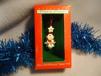 1988 BABY'S FIRST 1st CHRISTMAS Miniature Hallmark Ornament New Mint Boxed RARE