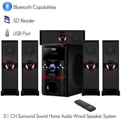 Frisby 5.1 Ch Home Theater System Package w/ Bluetooth SD USB AUX for TV or PC