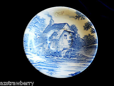 Royal Staffordshire Clarice Cliff Blue & White Rural Scenes Mill Cottage saucer
