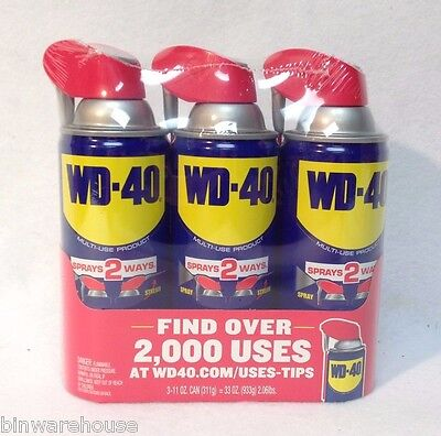 3 x 11 oz Cans WD-40 Multi-Use Lubricant - Smart Straw (Spray or Stream Mode)