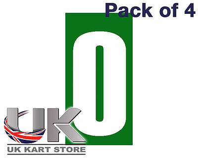 White Number 0 on a Green Background x 4 MSA Legal UK KART STORE