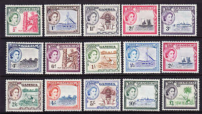 Gambia 1953 Qeii  Pictorials  Set 15 Mlh Sg 171/185