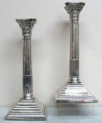 "Exceptional 1931 Birmingham Sterling Silver 12"" Column Candle Sticks"