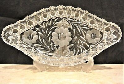 American Brilliant Period Antique Cut Crystal Intaglio with Cross-Hatch Tray